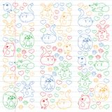 Vector set of beautiful round icons icons in doodle style. Painted, colorful, pictures on a piece of linear paper on white. Background royalty free illustration