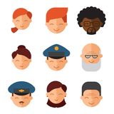 Vector set beautiful emoticons face of people smiling avatars happy characters illustration Stock Photo