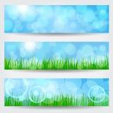 Beautiful soft bokeh nature banner set Royalty Free Stock Image