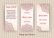 Vector set of beautiful vintage lace invitation cards Royalty Free Stock Image