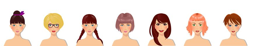 Vector set of beautiful young girls with various hair style, eyes color and facial types. Cute cartoon girls characters portrait for avatar isolated on Stock Image