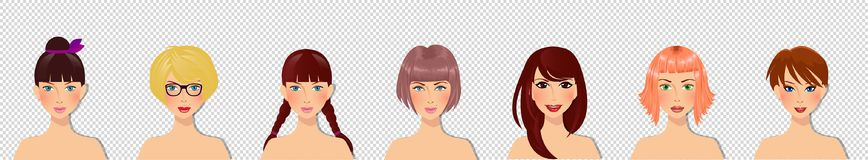 Cute cartoon girls characters portrait for avatar  on transparent background. Vector set of beautiful young girls with various hair style, eyes color and facial Royalty Free Stock Photo