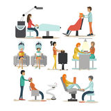 Vector set of beauty salon characters  on white background. Haircut, manicure, cosmetic and make up atelier. Stock Photos