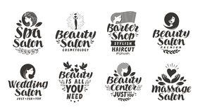 Vector set beauty salon labels, logos and icons. Lettering Spa, Barber shop, Wedding, Massage. Beauty salon labels, logos and icons. Lettering Spa, Barber shop Royalty Free Stock Images