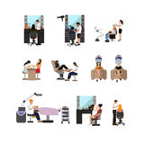 Vector set of beauty salon people  on white background. Haircut, manicure and make up atelier. Royalty Free Stock Photo