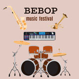 Vector set of bebop jazz music instruments, flat design. Royalty Free Stock Photo