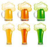Vector set of beer. Six mugs and glasses with light, dark and Irish green beer Stock Image
