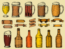 Vector set of beer bottles and glass. Vector ollection of beer bottles, sketch vector hand drawn illustration Stock Illustration