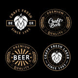Vector set of beer labels in retro style. Vintage craft beer brewery emblems, logo, stickers and design elements.  Royalty Free Stock Photography