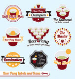 Vector Set: Beer Pong Champion Labels and Icons. Collection of beer pong champion labels and icons Royalty Free Stock Photo