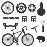 Vector set of bicycle parts isolated icons. Black and white bicycle symbols and design elements. Stock Images
