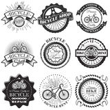 Vector set of bicycle repair shop labels and design elements in vintage black and white style. Bike logo Stock Photo