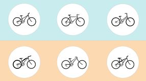 Vector set of bicycles in flat style. Guide of bike types. Poster with road bike, mountain bike, BMX, city and some fictional bike. Blue-orange background Royalty Free Stock Photography