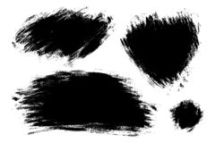 Vector set of big hand drawn brush strokes, stains for backdrops. Monochrome design elements set. One color monochrome artistic. Vector set of big hand drawn royalty free illustration