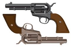 Vector set of big Revolvers on a white background. Collection of big old Revolvers. Bronze and black metal gun. Vector illustration of two American colts Stock Photo