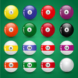 Vector set of billiard balls Royalty Free Stock Images