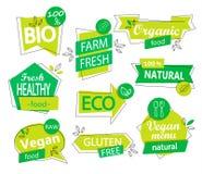 Vector set of bio, eco, organic stickers or logos. Stock Photo