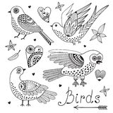 Vector set birds and hearts. Royalty Free Stock Photo