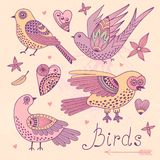 Vector set birds and hearts. Royalty Free Stock Images