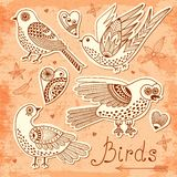 Vector set birds and hearts. Stock Photography