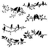 Vector set of birds at tree branches silhouettes vector illustration