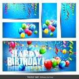 Vector set of birthday banners