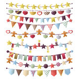 Vector set of birthday buntings, flags and garlands. Stock Images