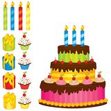 Vector Set with Birthday Cake, Candles, Cupcakes and Gift Boxes Royalty Free Stock Photos