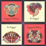 Vector set of birthday card abstract hand drawn doodles.  Stock Images