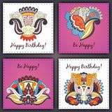 Vector set of birthday card abstract hand drawn doodles.  Stock Photos