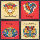 Vector set of birthday card abstract hand drawn doodles.  Stock Photo