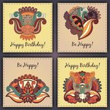 Vector set of birthday card abstract hand drawn doodles.  Royalty Free Stock Images