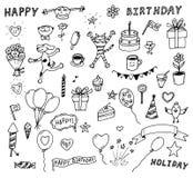 Vector set of birthday doodles Stock Photos