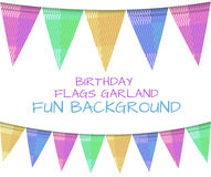 VECTOR set of birthday flags, colorful background. Stock Image