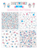 Vector set of birthday seamless patterns. Stock Image