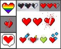 Vector set of 8 bit pixel art hearts. Vector set of 8 bit pixelart hearts. Retro video games trend. Rainbow heart, halflife, broken, medical concept stock illustration