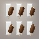 Vector Set of Bitten Popsicle Lollipop Ice Cream in Chocolate Glaze on Stick with Filling and Nuts with White Foil Royalty Free Stock Photography