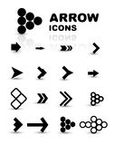 Vector set of black arrow icons Royalty Free Stock Image