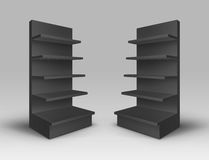 Vector Set of Black Blank Empty Exhibition Trade Stands Shop Racks with Shelves Storefronts on Background Stock Photo