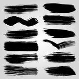 Vector Set of Black Brush Strokes Stock Photos