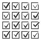 Vector set of black confirm check box icons. Royalty Free Stock Photo