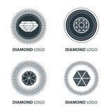Vector set of black diamond design elements Royalty Free Stock Photos