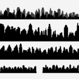 Vector set of black different horizontal cityscape. Vector city silhouettes, element for design banners,web design, architectural backgrounds stock illustration
