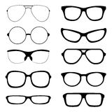 Vector Set of Black Glasses Silhouettes Stock Image