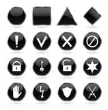 Black glossy buttons with security, hazard, warnin Stock Photos