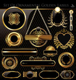 Vector set of black and gold labels. Vector set of black gold - framed labels Royalty Free Stock Photo