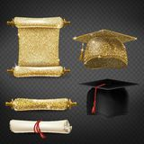 Vector set with graduation caps and diplomas stock illustration