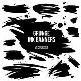 Vector set of black grunge spots. Abstract isolated grunge spots and banners. Grouped by objects and easy to use and recolor Royalty Free Stock Image