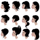 Vector set of black hair styling for woman Stock Image