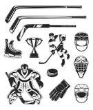 Vector set of black hockey icon Royalty Free Stock Photography